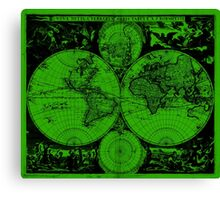 Vintage Map of The World (1685) Black & Green  Canvas Print