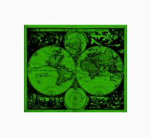 Vintage Map of The World (1685) Black & Green  Unisex T-Shirt