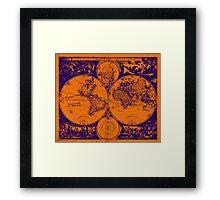 Vintage Map of The World (1685) Purple & Orange  Framed Print