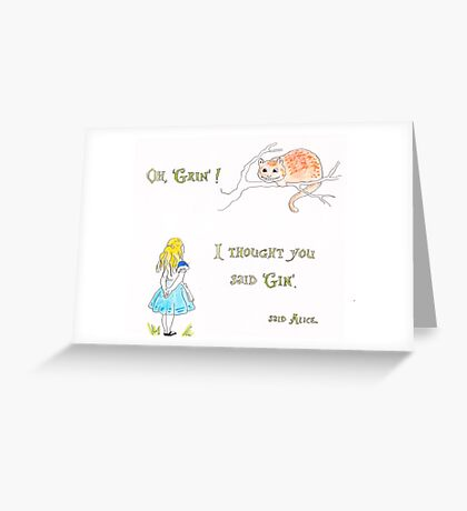 Alice in Wonderland. Cheshire cat grins. Greeting Card