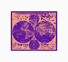 Vintage Map of The World (1685) Tan & Purple Unisex T-Shirt