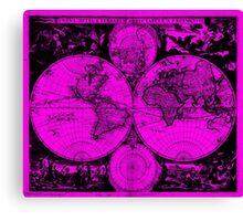 Vintage Map of The World (1685) Black & Pink Canvas Print