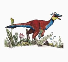 Sinornithosaurus with flowers One Piece - Short Sleeve