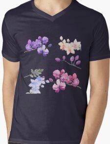 Paint Flowers Mens V-Neck T-Shirt