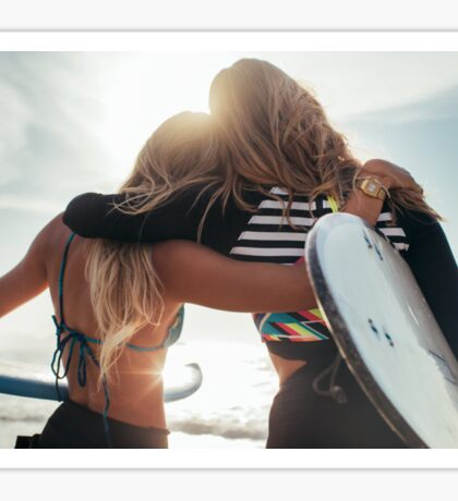 Rio de Janeiro - Two Sexy Female Surfer Girls Holding Surfboards and Hugging Each Other Sticker