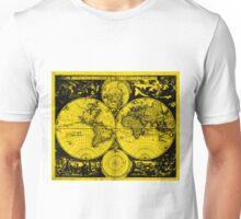 Vintage Map of The World (1685) Black & Yellow  Unisex T-Shirt