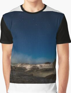 Waves Crashing on Rocks with stars in background (Long Exposure) Graphic T-Shirt
