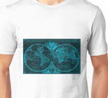 World Map (1691) Black & Blue Unisex T-Shirt
