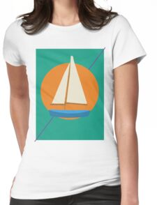 Sunny Sailboat Womens Fitted T-Shirt