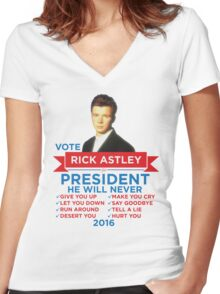 Rick Astley for Prez! Women's Fitted V-Neck T-Shirt