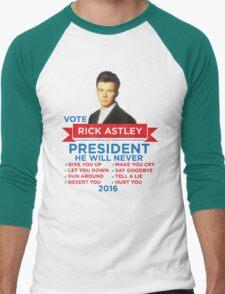 Rick Astley for Prez! Men's Baseball ¾ T-Shirt
