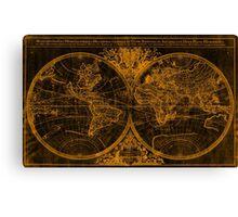 World Map (1691) Black & Orange Canvas Print
