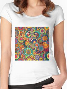 Funky Retro Pattern Women's Fitted Scoop T-Shirt