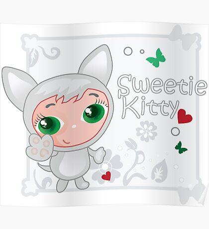 Cute funny kitten vector illustration Poster