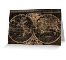 World Map (1691) Black & Light Brown Greeting Card