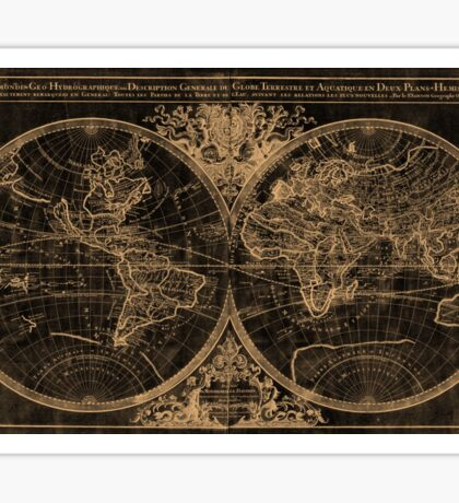 World Map (1691) Black & Light Brown Sticker