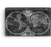 World Map (1691) Black & White Canvas Print
