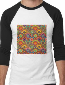 Funky Retro Mandala Pattern Men's Baseball ¾ T-Shirt