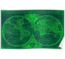 World Map (1691) Blue & Green Poster