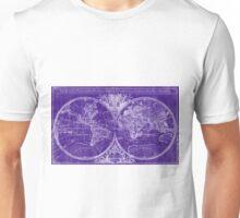 World Map (1691) Purple & White Unisex T-Shirt
