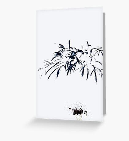 Fireworks Sumi-e Greeting Card
