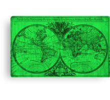World Map (1691) Green & Black  Canvas Print