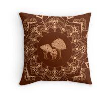 mushroom mandala Throw Pillow