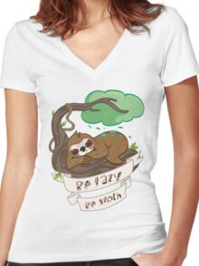 Be lazy Be Sloth ! Women's Fitted V-Neck T-Shirt