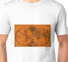World Map (1691) Orange & Black Unisex T-Shirt