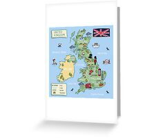 Cartoon map United Kingdom Greeting Card