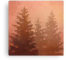 Cedar Trees Silhouette - Foggy Forest Painting Canvas Print