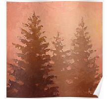 Cedar Trees Silhouette - Foggy Forest Painting Poster
