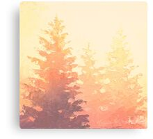 Cedar Trees Silhouette - Foggy Forest Painting Light Version Canvas Print