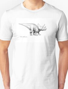 Cera the Triceratops - Dinosaur Ink Drawing T-Shirt