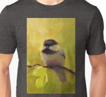 Cute Black Capped Chickadee on Spring Green Tree Branch Unisex T-Shirt