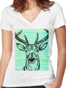 Arctic Deer Women's Fitted V-Neck T-Shirt