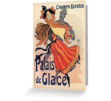 Vintage Paris Ice Palace de Glace, Ice skating Jules Cheret Greeting Card