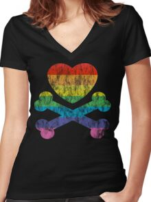 heart and crossbones Women's Fitted V-Neck T-Shirt