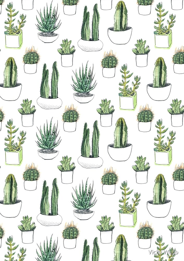watercolour cacti and succulents by Vicky Webb