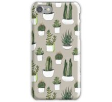 Watercolour Cacti & Succulents - on beige iPhone Case/Skin