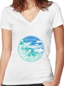 Save the Oceans! Women's Fitted V-Neck T-Shirt