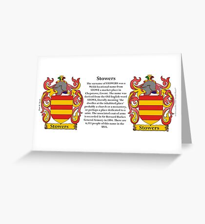 Stowers Coat of Arms Greeting Card
