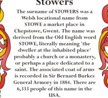 Stowers Coat of Arms Sticker