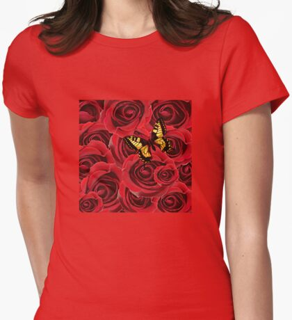 Rose and Butterfly Womens Fitted T-Shirt
