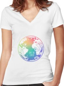 Save the Earth! Women's Fitted V-Neck T-Shirt