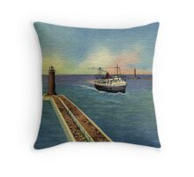 Vintage Steamer entering harbor Muskegon MI Throw Pillow