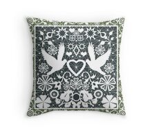 White seamless lace lacy pattern with pigeons on green background Throw Pillow