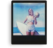 Polaroid of Blond Female Surfer Girl Holding Surfboard and Coconut Canvas Print