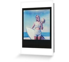 Polaroid of Blond Female Surfer Girl Holding Surfboard and Coconut Greeting Card