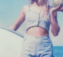 Polaroid of Blond Female Surfer Girl Holding Surfboard and Coconut Sticker